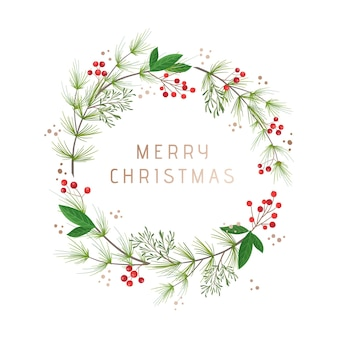 Zimowy wieniec vintage, szablon karty z pozdrowieniami świątecznymi. sosna zielona, kwiaty bawełny, ostrokrzew jagodowy. boże narodzenie ilustracja wektorowa na baner, ulotki, okładki. ilustracja wektorowa kwiatowy