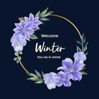 Zimowy wieniec z fioletowym kwiatem
