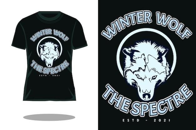 Zimowy wilk retro projekt koszulki widmo