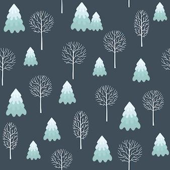 Zimowy wzór bezszwowe boże narodzenie do projektowania opakowań papierowych, pocztówek, tekstyliów. wzór z wizerunkiem jodeł, drzew, krzewów pokrytych śniegiem