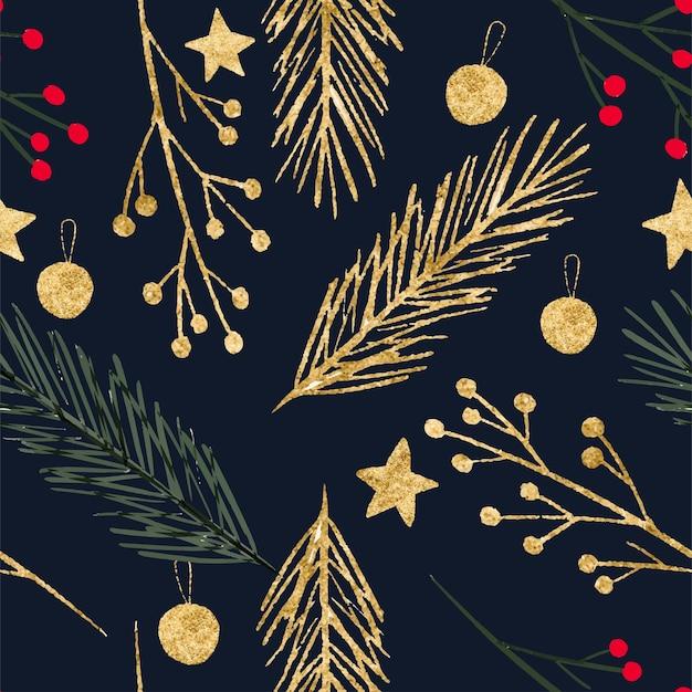 Zimowy wzór boże narodzenie wieniec złota jodła świerk elementy dekoracji holly berry