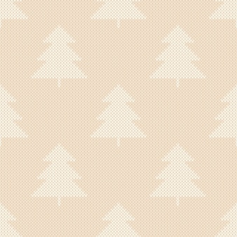 Zimowy wzór dzianiny z ozdobą choinki