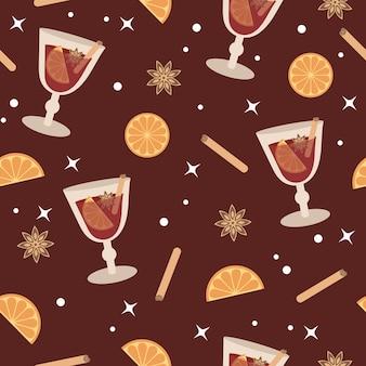 Zimowy wzór grzanego wina z gorącym czerwonym winem i przyprawami na burgund