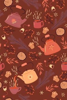 Zimowy wzór herbaty z czajniki i kubki