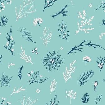 Zimowy wzór kwiatowy piękny wektor wzór na boże narodzenie i ferie zimowe
