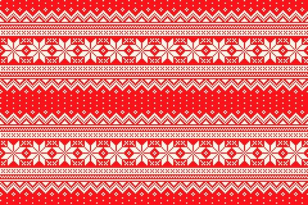Zimowy wzór piksela z tradycyjnym ornamentem w gwiazdkę bożonarodzeniową