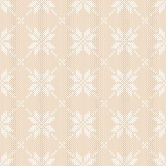 Zimowy wzór z dzianiny w płatki śniegu. sweter fair isle knitting design. bezszwowe tło boże narodzenie i nowy rok