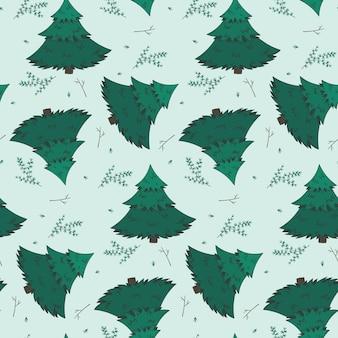Zimowy wzór z gałęzi jodły i płatki śniegu