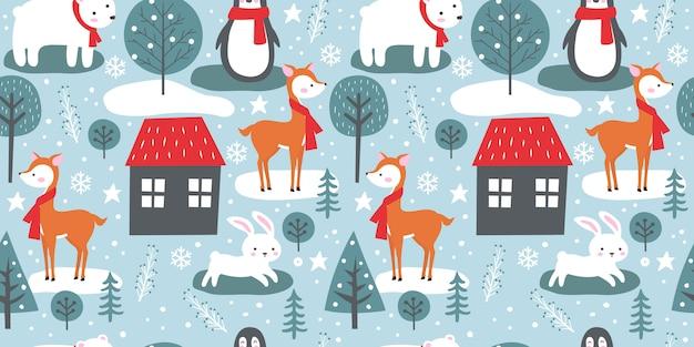 Zimowy wzór z uroczymi zwierzętami