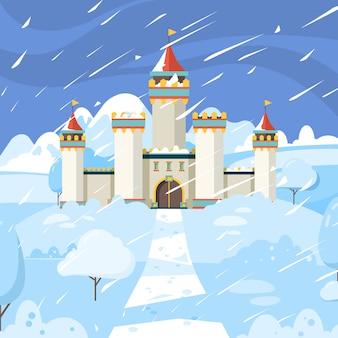 Zimowy zamek. bajkowy zamrożony budynek królestwa średniowiecznego śniegu magiczny krajobraz tło
