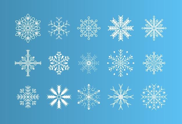 Zimowy zestaw białe płatki śniegu na białym tle na tle. zimowe płatki śniegu kryształowy element.