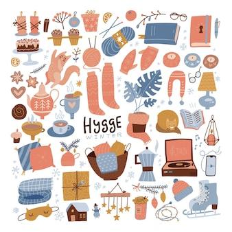 Zimowy zestaw clipartów hygge przytulny zimowy płaski ręcznie rysowane ilustracja dla srickers logo karty plakaty wr...