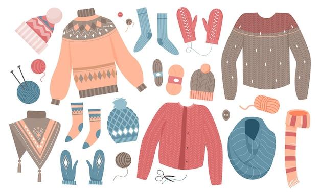 Zimowy zestaw odzieży z dzianiny z kolekcji dzianin wełnianych z sweterkiem i szalikiem