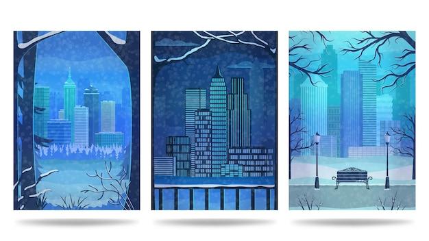 Zimowy zestaw plakatów miasta