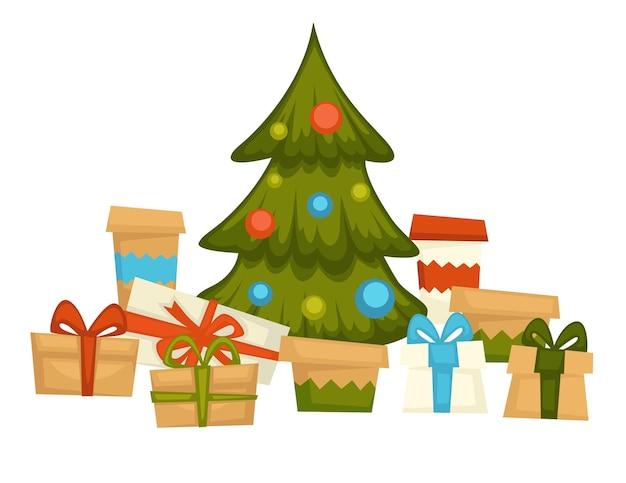 Zimozielona sosna ozdobiona girlandami i bombkami z prezentami w pudełkach. tradycja dawania prezentów na boże narodzenie. świerk z błyszczącymi kulami, uroczystość i świąteczny nastrój. wektor w stylu płaskiej