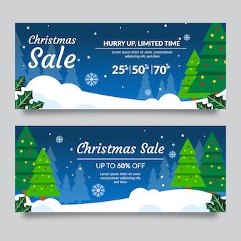 Zimozielone drzewa ze sznurkiem oświetlają banery bożonarodzeniowe