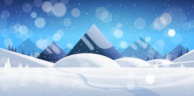 Zimy halnego lasu krajobrazu tła sosnowego śniegu drzew drewien płaski płaski sztandar
