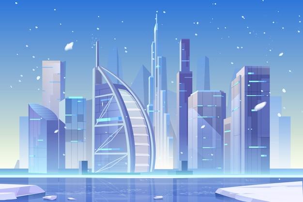 Zimy miasta linia horyzontu przy zamarzniętą zatoką, architektura