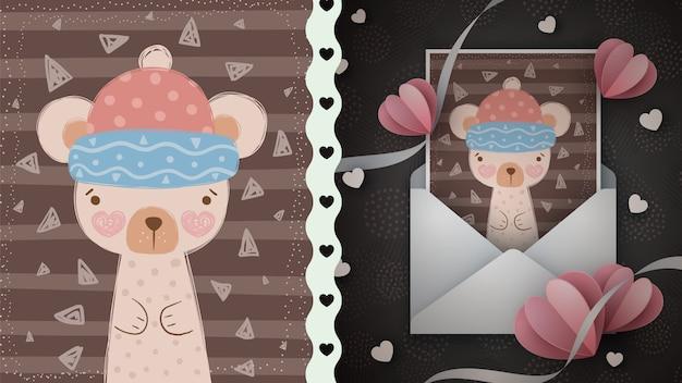 Zimy niedźwiadkowa ilustracja dla kartka z pozdrowieniami