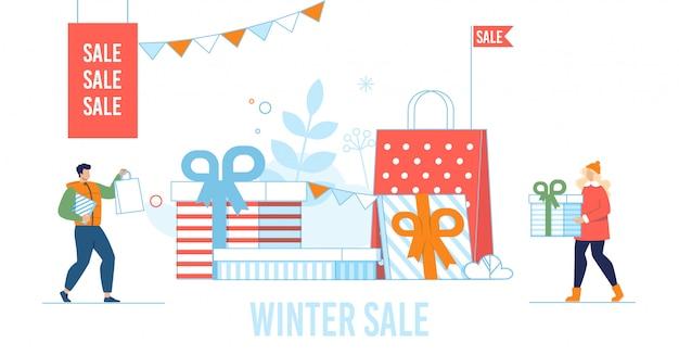 Zimy sprzedaży płaska ilustracja z ludźmi przygotowywa prezenty