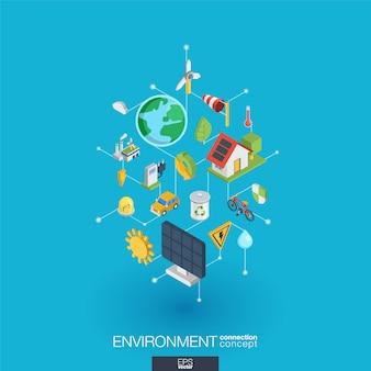Zintegrowane ikony środowiska sieci web. koncepcja interakcji izometrycznej sieci cyfrowej. połączony graficzny system kropkowo-liniowy. abstrakcyjne tło dla ekologii, recyklingu i energii. infograf