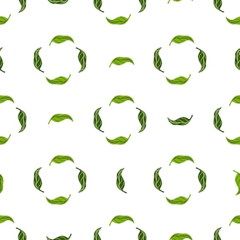 Ziołowy abstrakcyjny wzór z geometrycznym ornamentem zielonych liści mandarynki