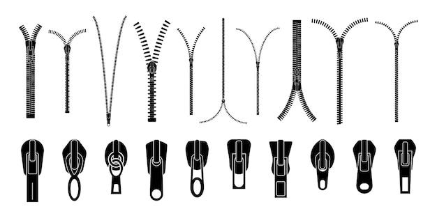 Zip ściąga lub ściągacze zamka błyskawicznego, kolekcja zapasów czarnego zamka błyskawicznego na białym tle. zamknięty i otwarty zamek błyskawiczny. zestaw różnych błyskawic.