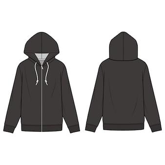 Zip-up hoodie moda płaski szablon szkicu