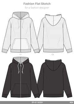 Zip-up hoody model płaski rysunek techniczny szablon