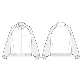 Zip-up jaket moda płaski szablon szkicu
