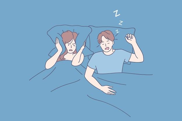 Zirytowana, zestresowana młoda kobieta postać z kreskówki cierpiąca na bezsenność z powodu chrapania mężczyzny w łóżku i zakrywania uszu poduszką, widok z góry