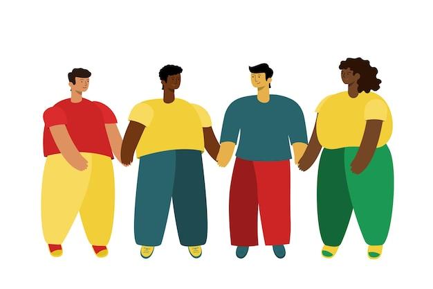 Zjednoczona społeczność. przyjaźń narodów różni współcześni ludzie stoją trzymając się za ręce na całej długości.