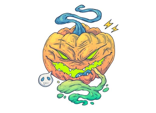 Zła dynia na halloween. ilustracja kreatywnych kreskówek.