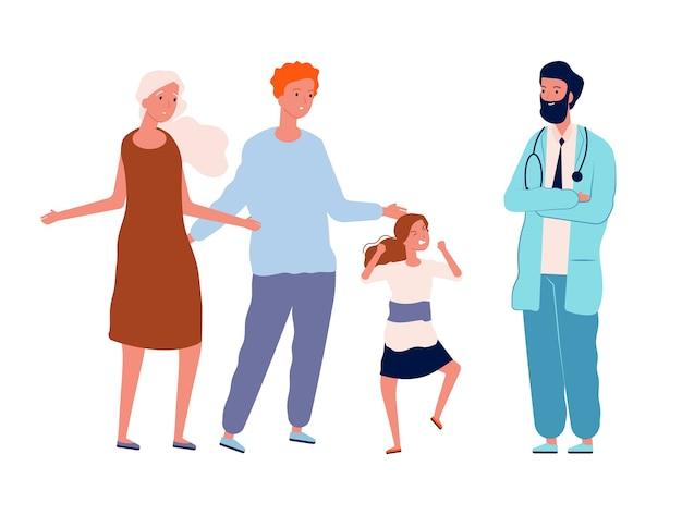 Zła dziewczyna i zdezorientowani rodzice. wizyta podologa, lekarz i niegrzeczne dziecko na białym tle postaci. ilustracja wizyta rodzinna w klinice, kobieta i mężczyzna z dzieckiem