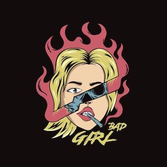 Zła dziewczyna kobiety pop-art ilustracja