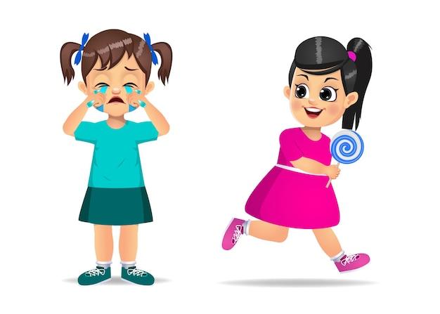 Zła dziewczynka kradzież cukierków od jej przyjaciółki. na białym tle