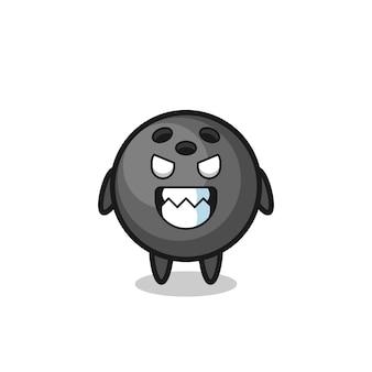 Zła ekspresja postaci słodkiej maskotki kuli do kręgli, ładny styl na koszulkę, naklejkę, element logo