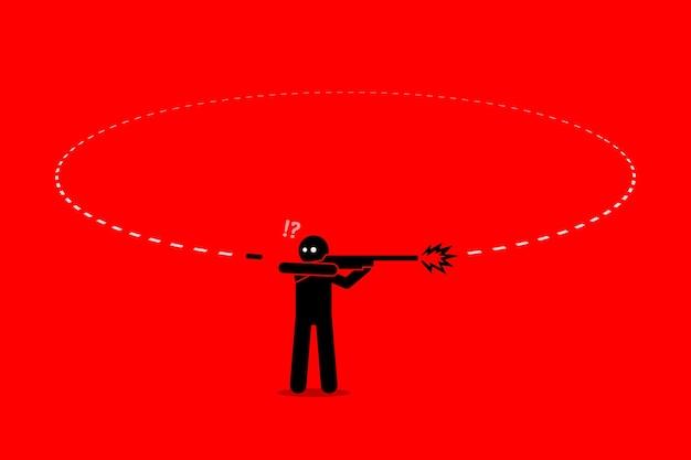 Zła karma człowieka. mężczyzna strzela kulą z pistoletu, próbując kogoś zabić. jednak kula wraca i uderza go od tyłu.