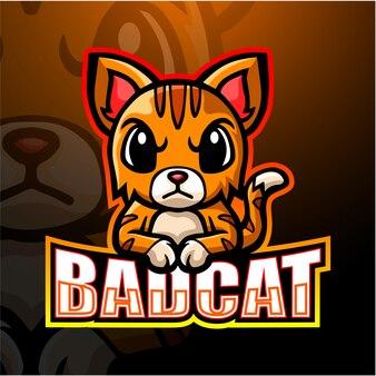 Zła kot maskotka esport ilustracja
