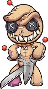 Zła lalka voodoo z szerokim uśmiechem trzymająca nożyczki