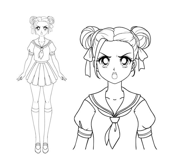 Zła manga dziewczyna z dwoma warkoczykami w japońskim mundurku szkolnym.