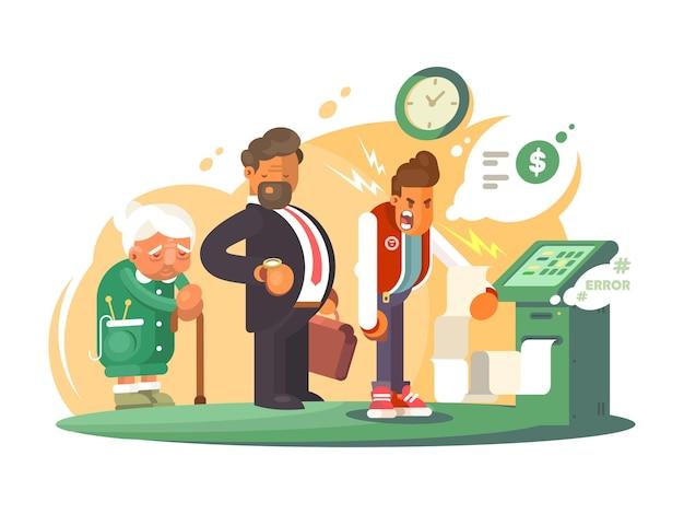 Zła obsługa w banku. kolejka ludzi przy bankomacie. ilustracja wektorowa