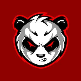 Zła panda head premium gaming i sportowa maskotka wektor logo