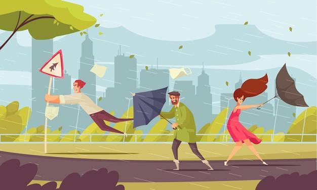 Zła pogoda w mieście zabawna płaska kompozycja z ludźmi zdmuchniętymi przez burzę