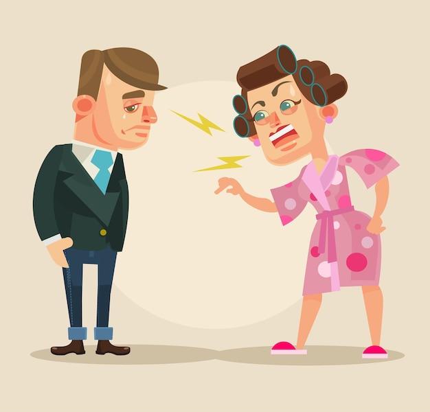 Zła postać żony krzyczy na męża płaskiej ilustracji kreskówki