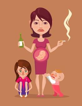 Zła w ciąży pijana matka paląca z postaciami dzieci.