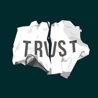 Złamana ilustracja zaufania na pomarszczonym papierze