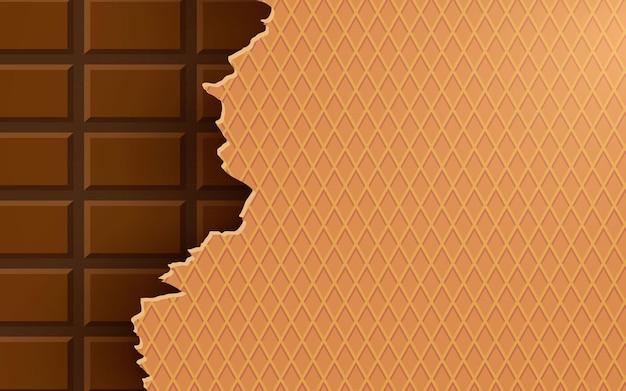 Złamana tekstura tła wafelka czekoladowego