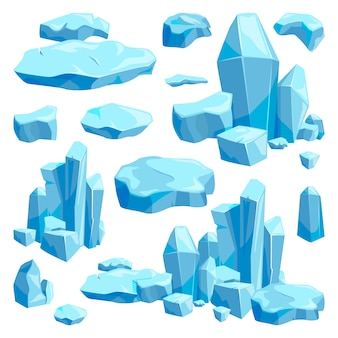 Złamane kawałki lodu. ilustracje wektorowe gry projekt w stylu cartoon
