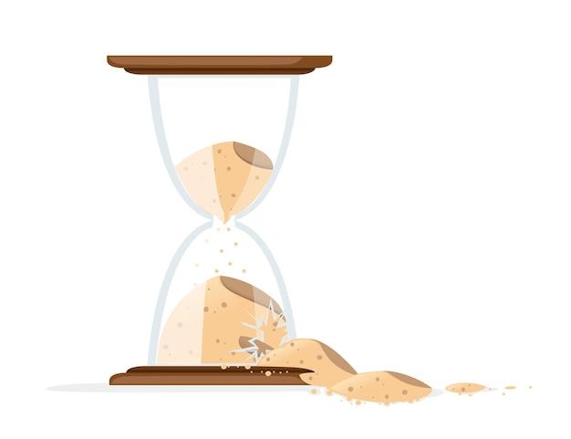 Złamane klepsydry z ilustracją wylewania piasku